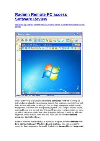 Radmin Remote PC access Software Review by Yongqiang Xie - issuu