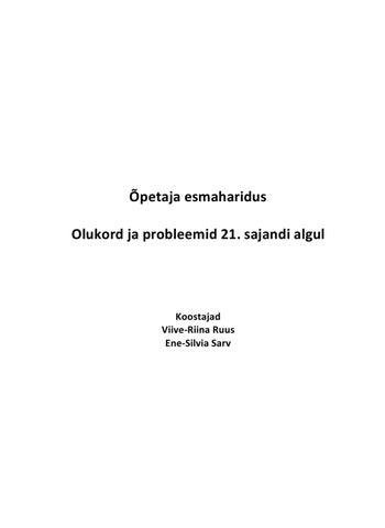 c271a329c41 Ă•petaja esmaharidus Olukord ja probleemid 21. sajandi algul