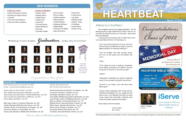 5-20-12 Heartbeat Newsletter by Whitesburg Baptist Church