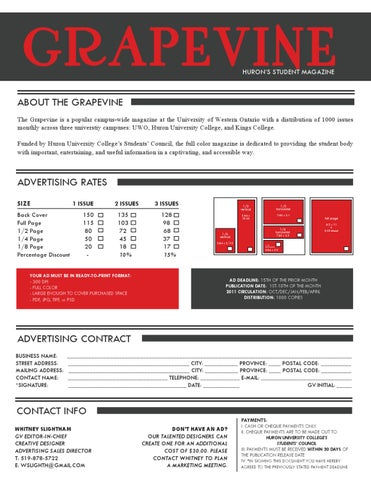 Advertising Rate Sheet Sample - Grapevine Magazine by Huron ...