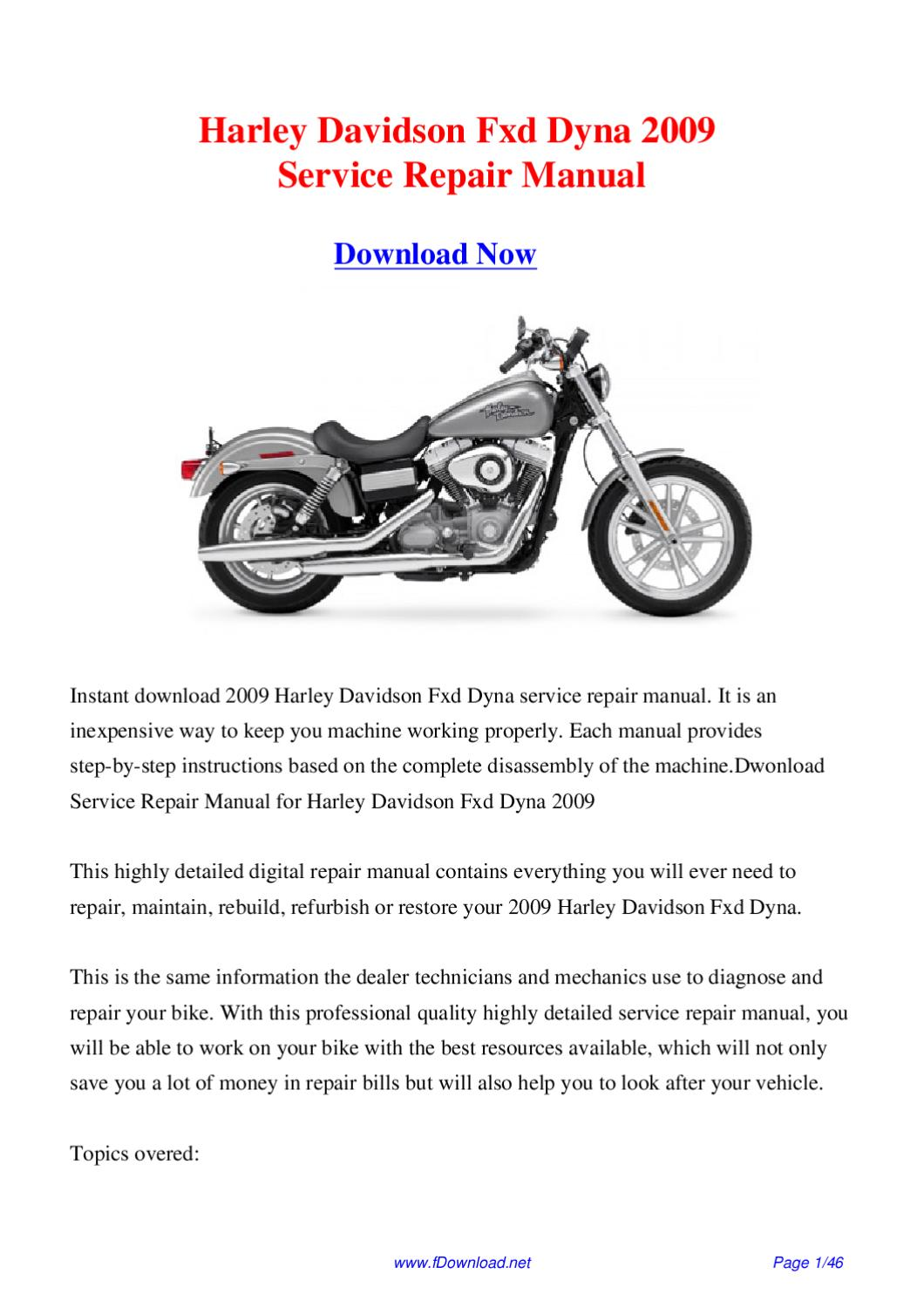 harley davidson fxd dyna 2009 service repair manual by. Black Bedroom Furniture Sets. Home Design Ideas