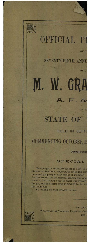 1895 Proceedings Grand Lodge of Missouri