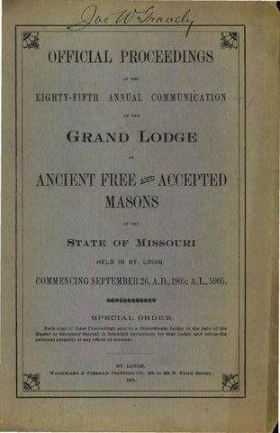 1905 Proceedings Grand Lodge Of Missouri Volume 2 Appendixes By