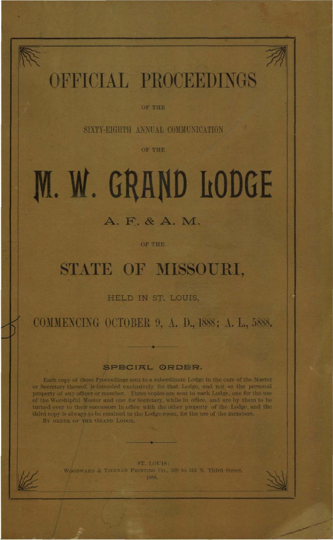 1888 Proceedings - Grand Lodge of Missouri by Missouri Freemasons ...