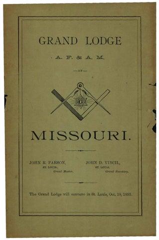 1892 Proceedings Grand Lodge Of Missouri By Missouri Freemasons