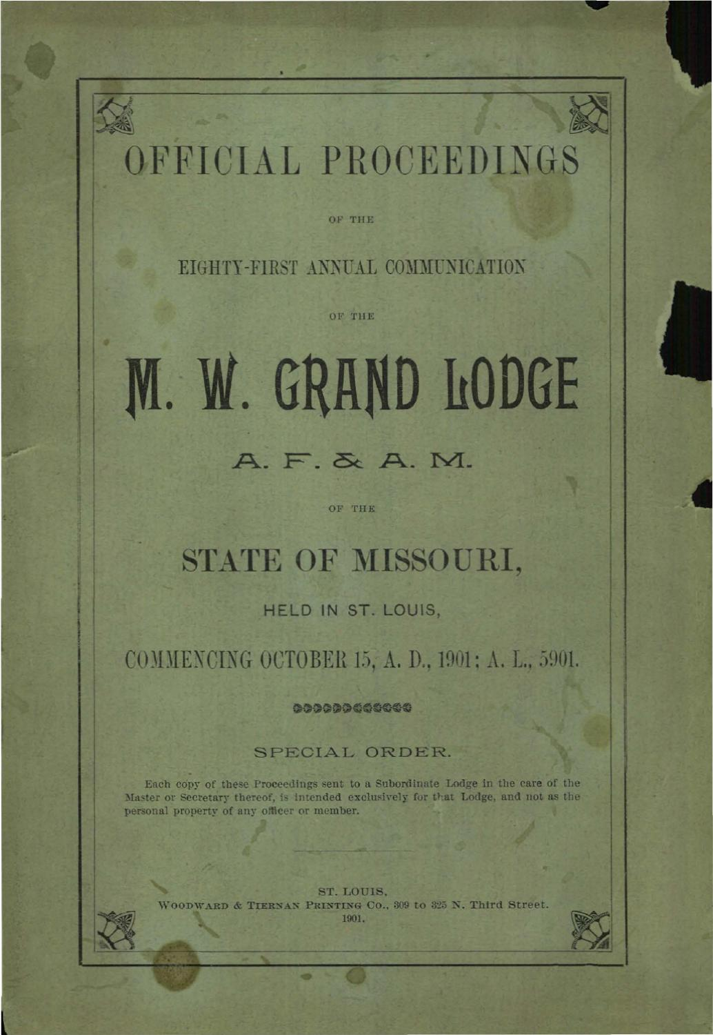 1901 Proceedings - Grand Lodge of Missouri by Missouri