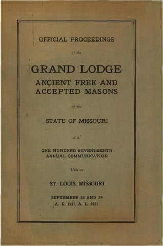 1937 Proceedings Grand Lodge Of Missouri By Missouri Freemasons