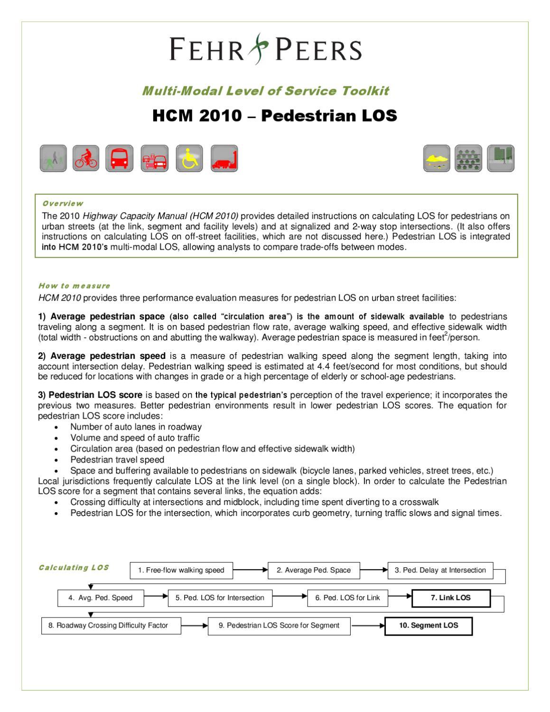 MMLOS Toolkit- HCM 2010 Pedestrian LOS by Fehr & Peers - issuu