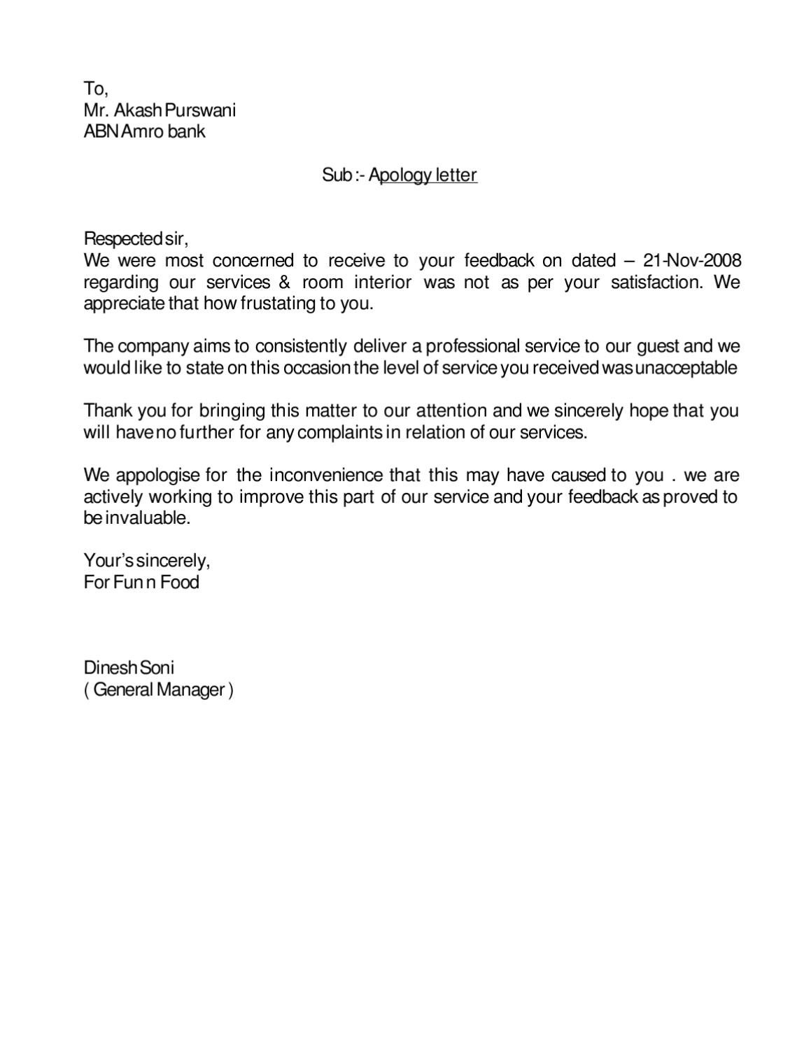 apology letter by yogendra singh
