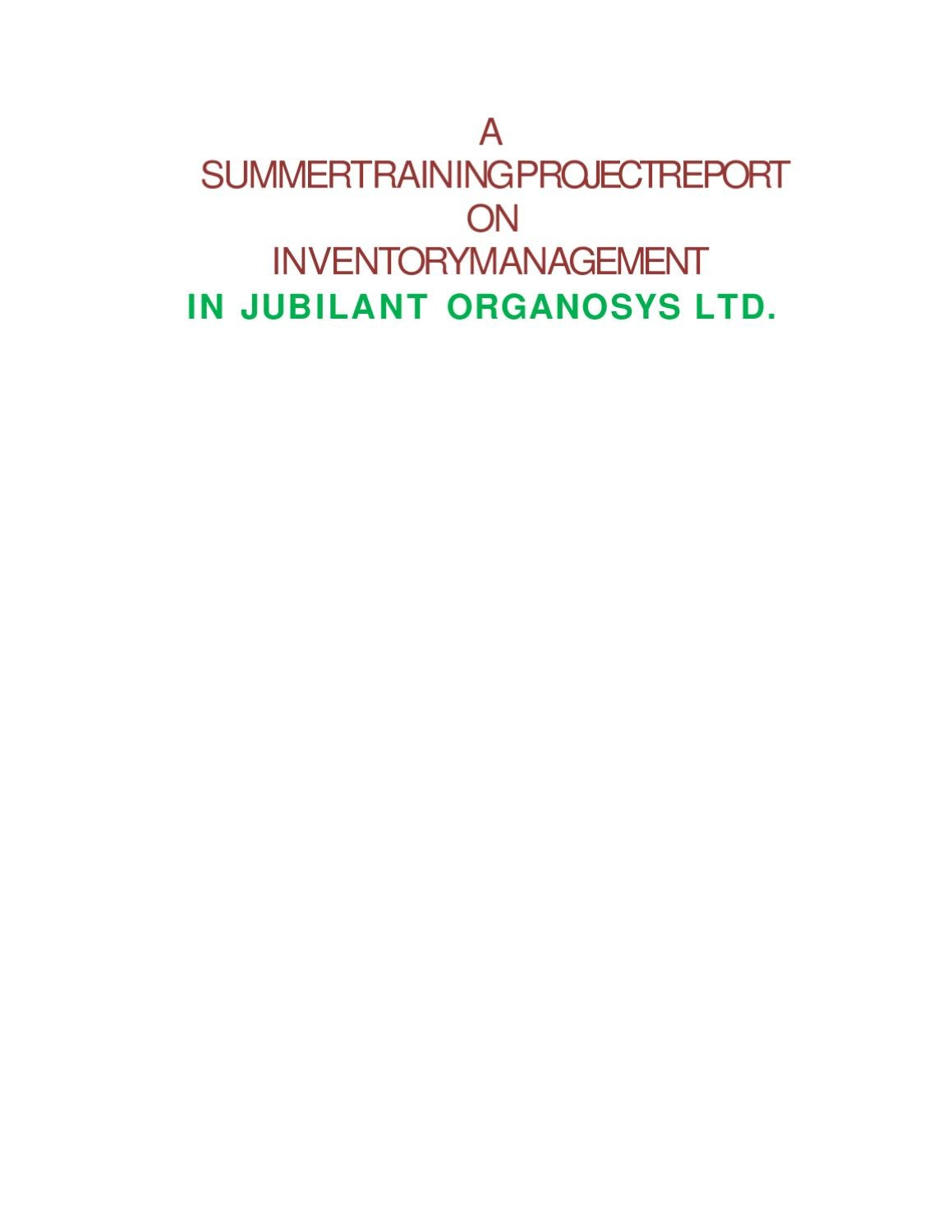 TRAINING PROJECT REPORT ON INVENTORY MANAGEMENT by Sanjay