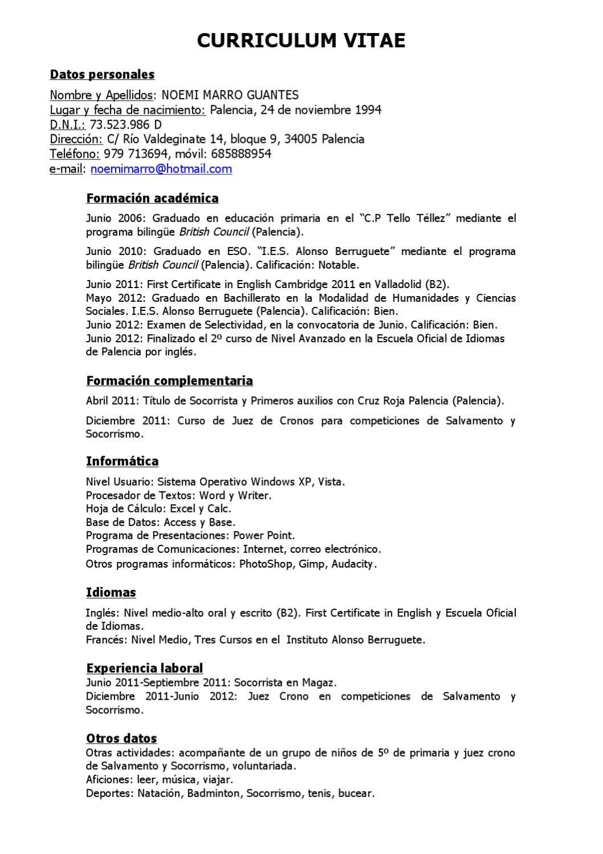 Curriculum vitae by Noemi Marro - issuu