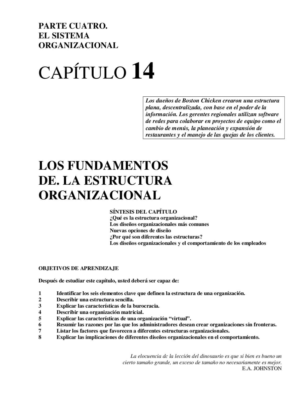 Los Fundamentos De La Estructura Organizacional By Luis
