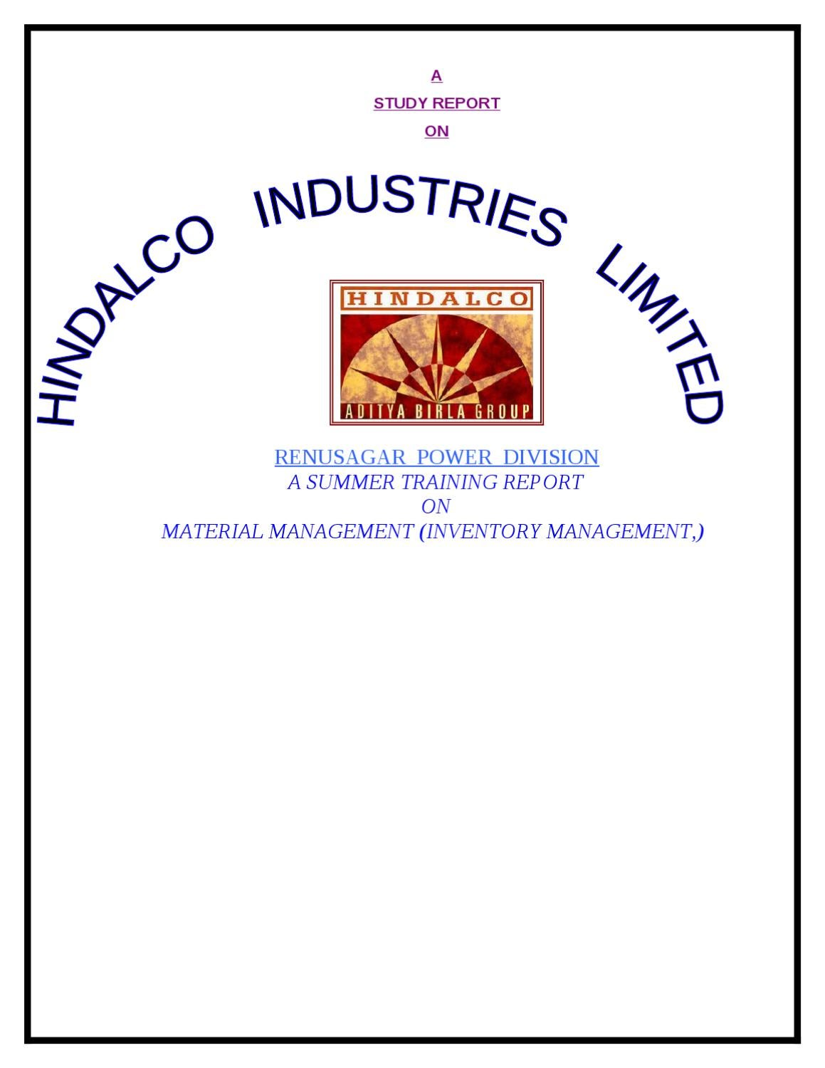 REPORT ON MATERIAL MANAGEMENT (INVENTORY MANAGEMENT,) AT