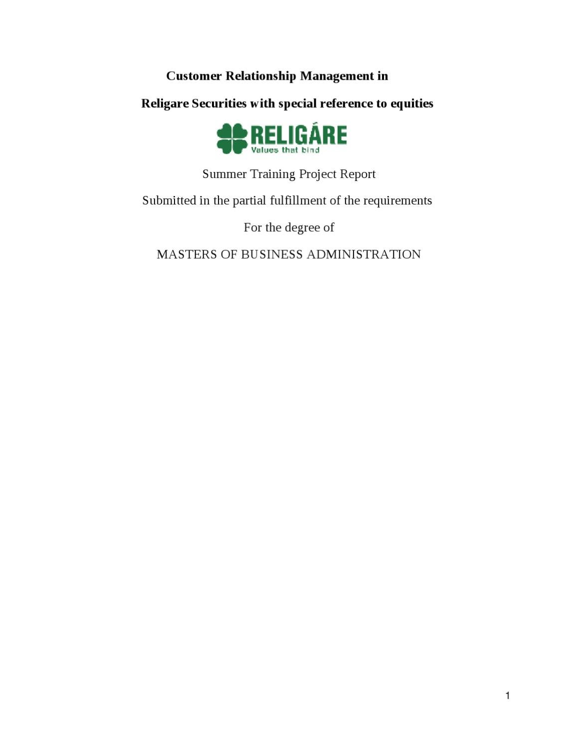 religare project report
