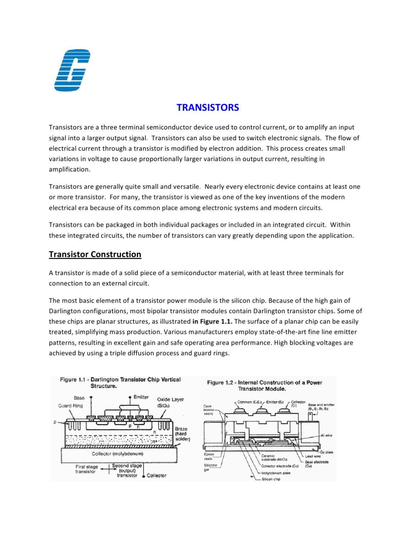 Transistors General Information By Galco Industrial Electronics Npn Transistor Darlington Configuration Issuu