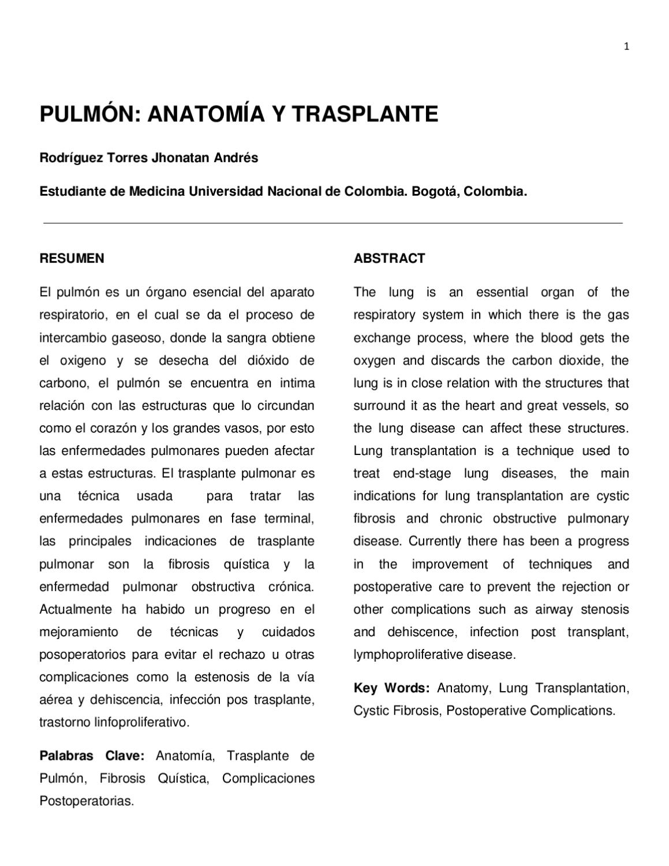 Pulmon: anatomia y transplante by Jhonatan Rodriguez - issuu