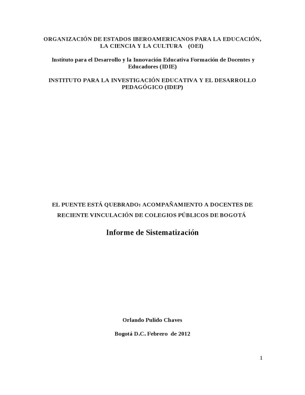 El Puente está quebrado - Informe final sistematización by MARY ...