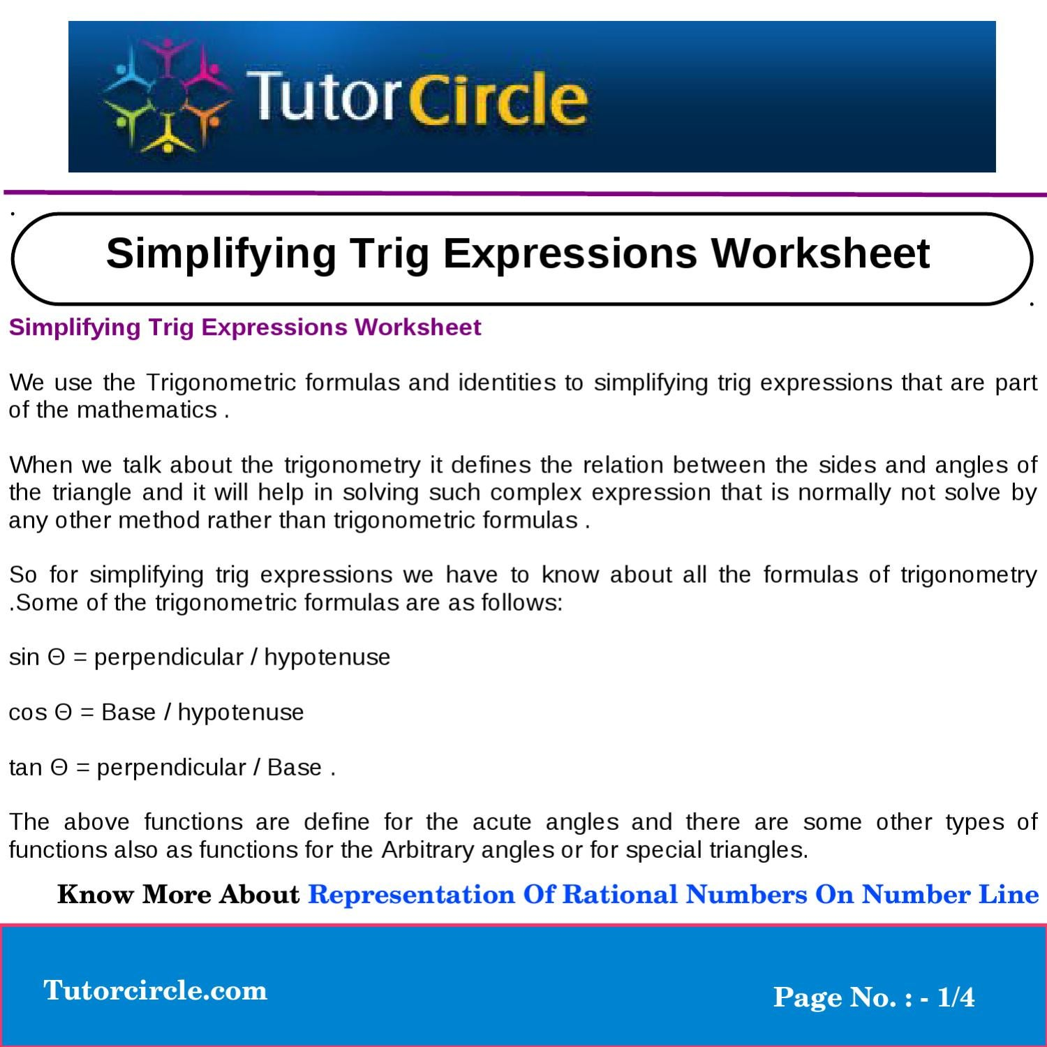 Simplifying Trig Expressions Worksheet By Yatendra