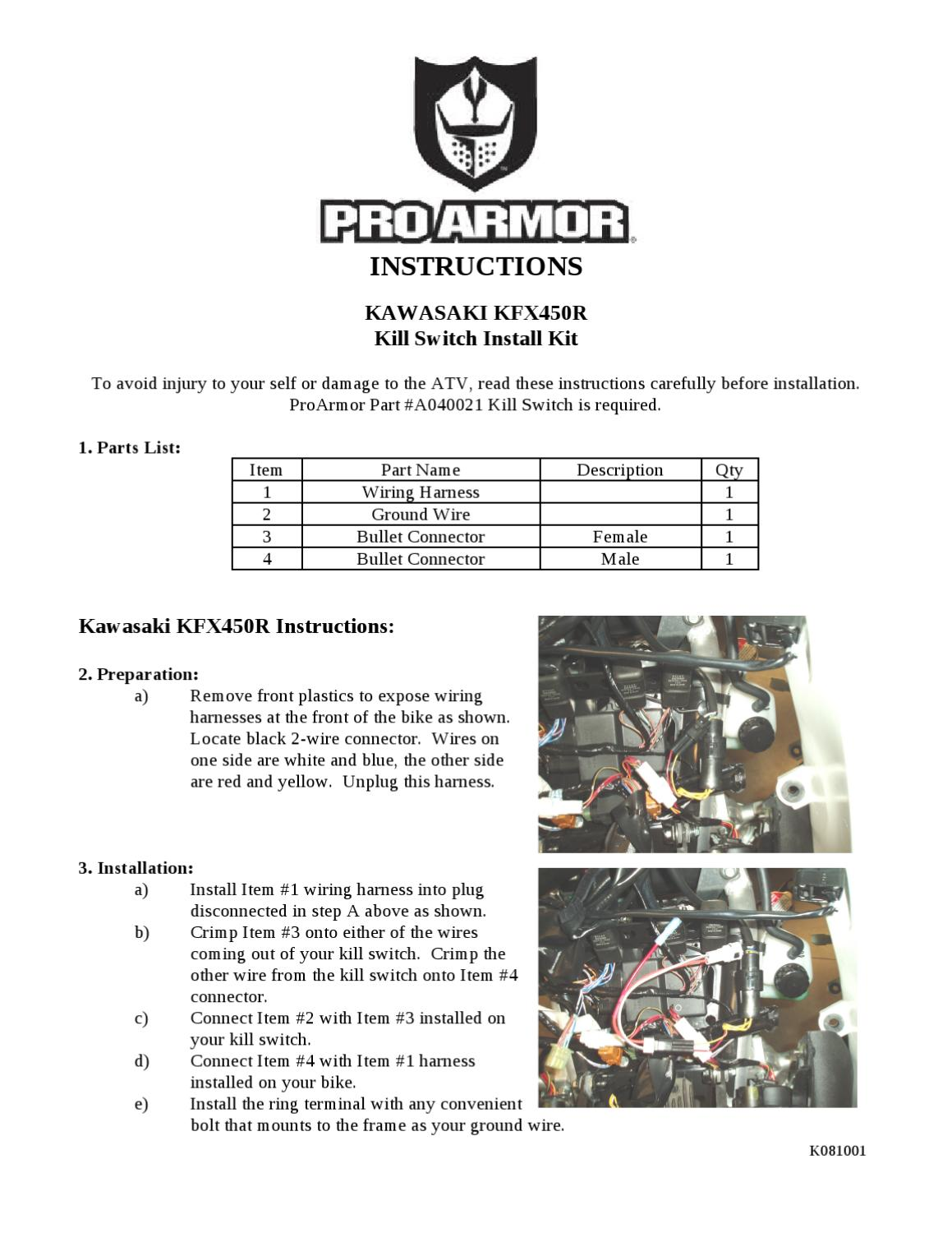 K081001 Kfx450killswitch Instructions By Pro Armor Issuu Wiring Harness Installed