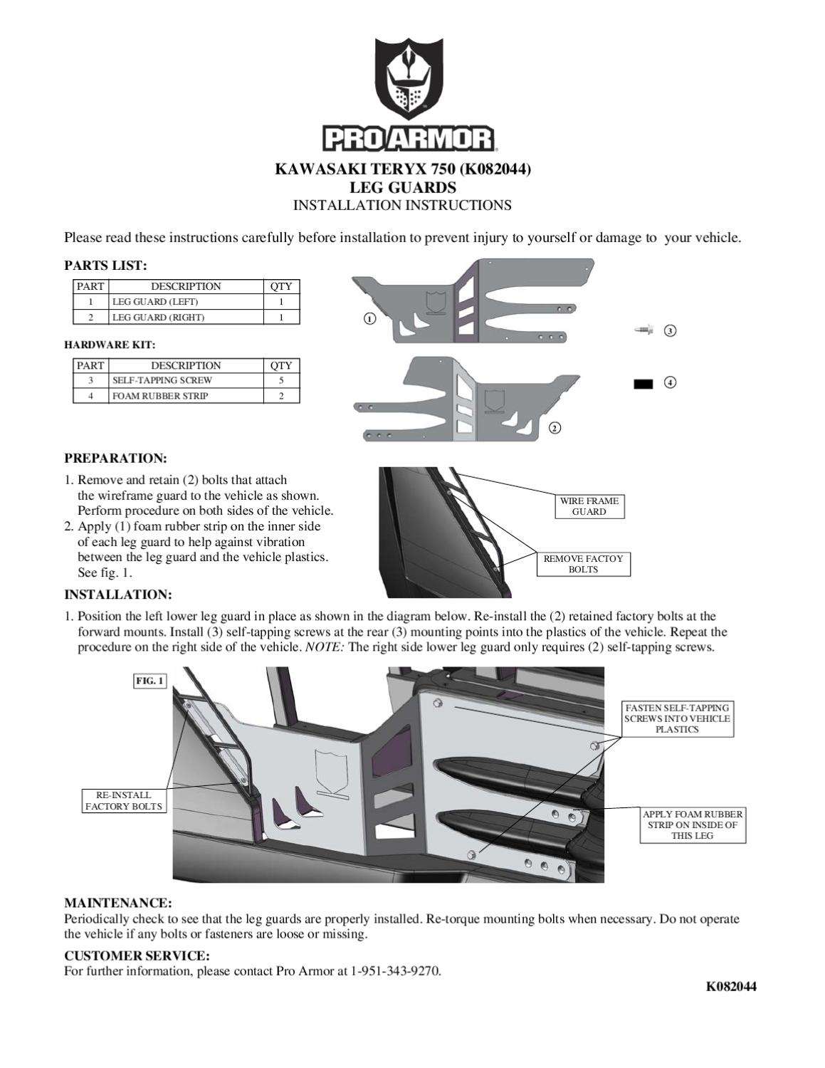 K082044 Teryxlowerlegguards Instructions By Pro Armor Issuu Kawasaki Teryx Wiring Diagram