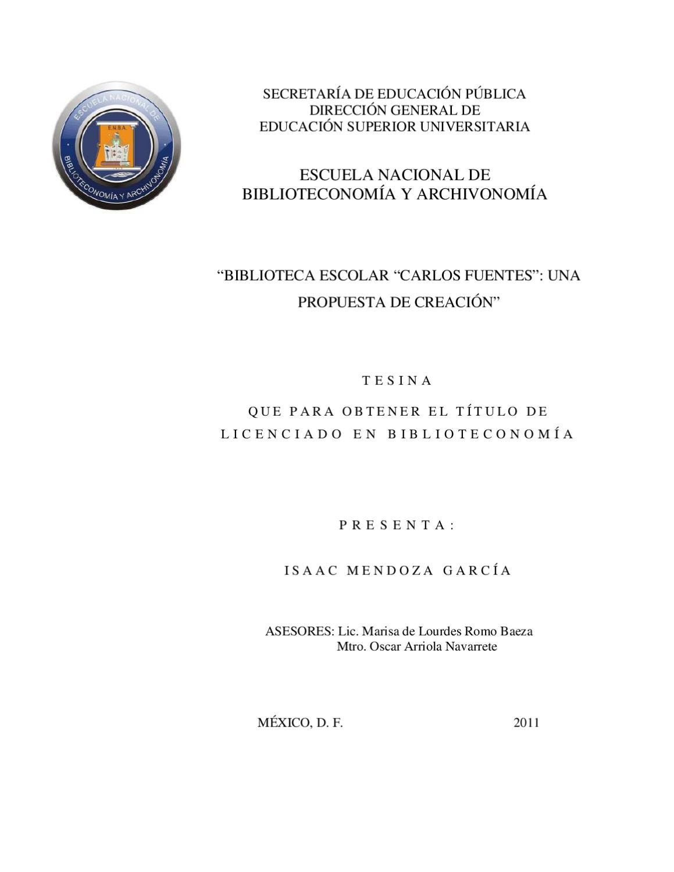 """Biblioteca escolar """"Carlos Fuentes"""": una propuesta de creación by ..."""