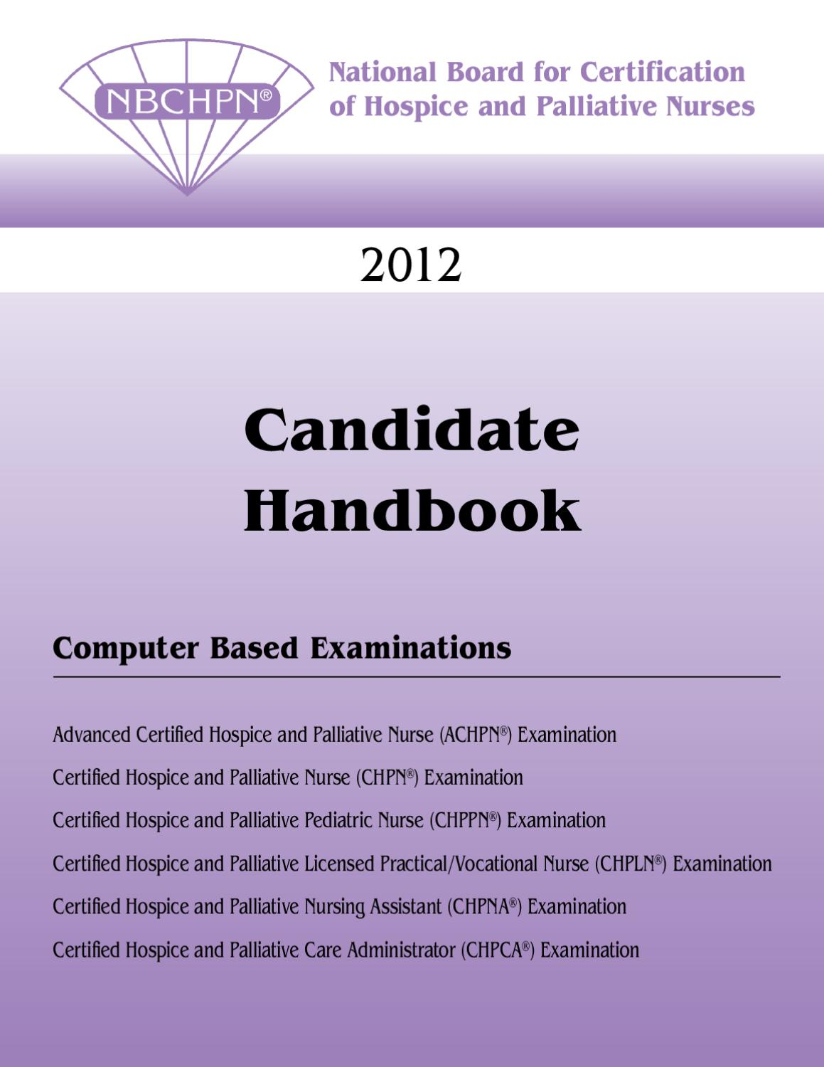 Nbchpn Candidate Handbook 0512 By Hospice And Palliative Nurses