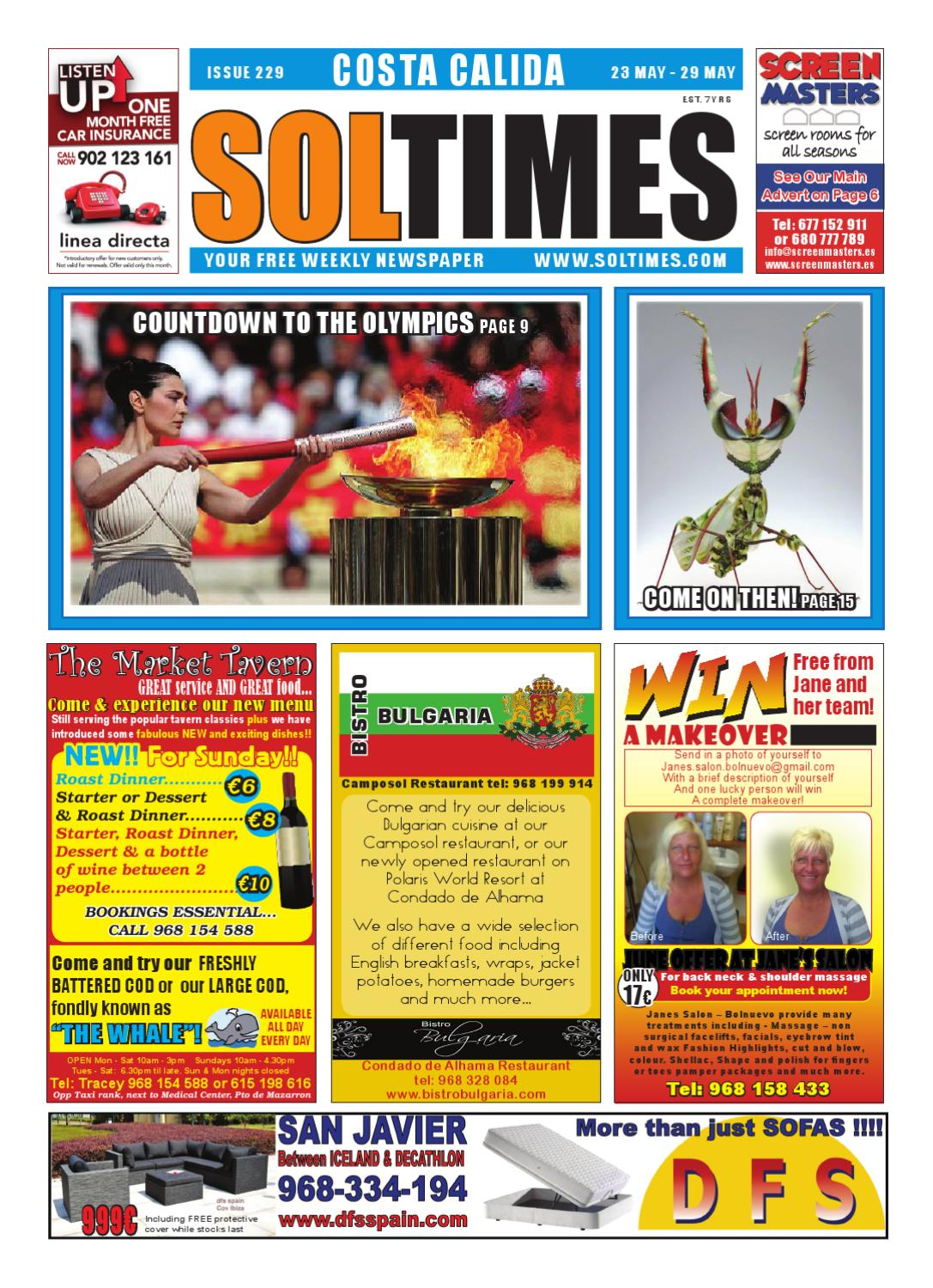 Sol Times Newspaper Issue 229 Costa Calida Edition By Nigel Judson  # Muebles Liga Trace