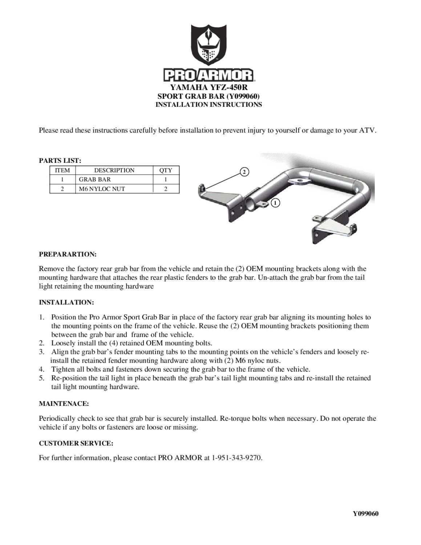 Y099060_YFZ450RSportGrabBar_Instructions by Pro Armor - issuu