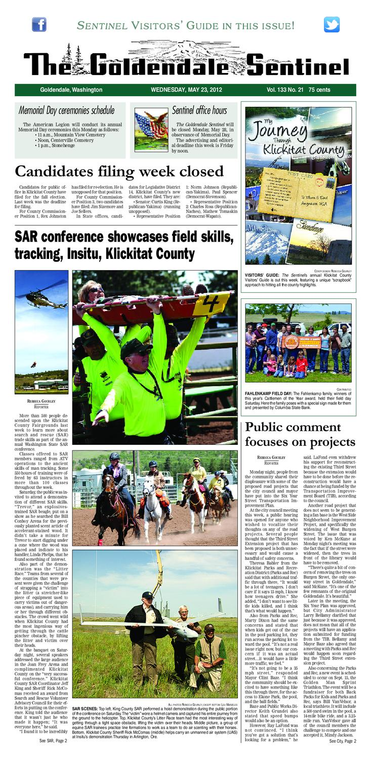 The Goldendale Sentinel May 23, 2012 Issue by The Goldendale