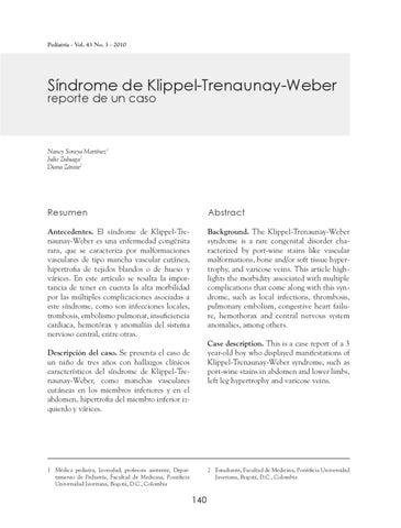 Trenaunay weber klippel diagnóstico de del síndrome