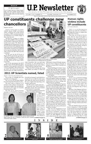 UP Newsletter November 2011 by University of the Philippines - issuu
