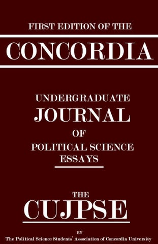 Thesis For Essay  Proposal Essay Template also English Essay Outline Format The  Concordia Undergraduate Journal Of Political  English Essays Examples