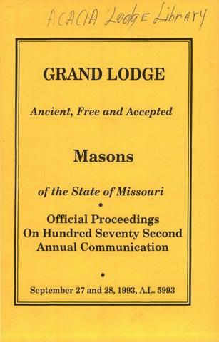1993 Proceedings - Grand Lodge of Missouri by Missouri Freemasons ... 25103380e1379