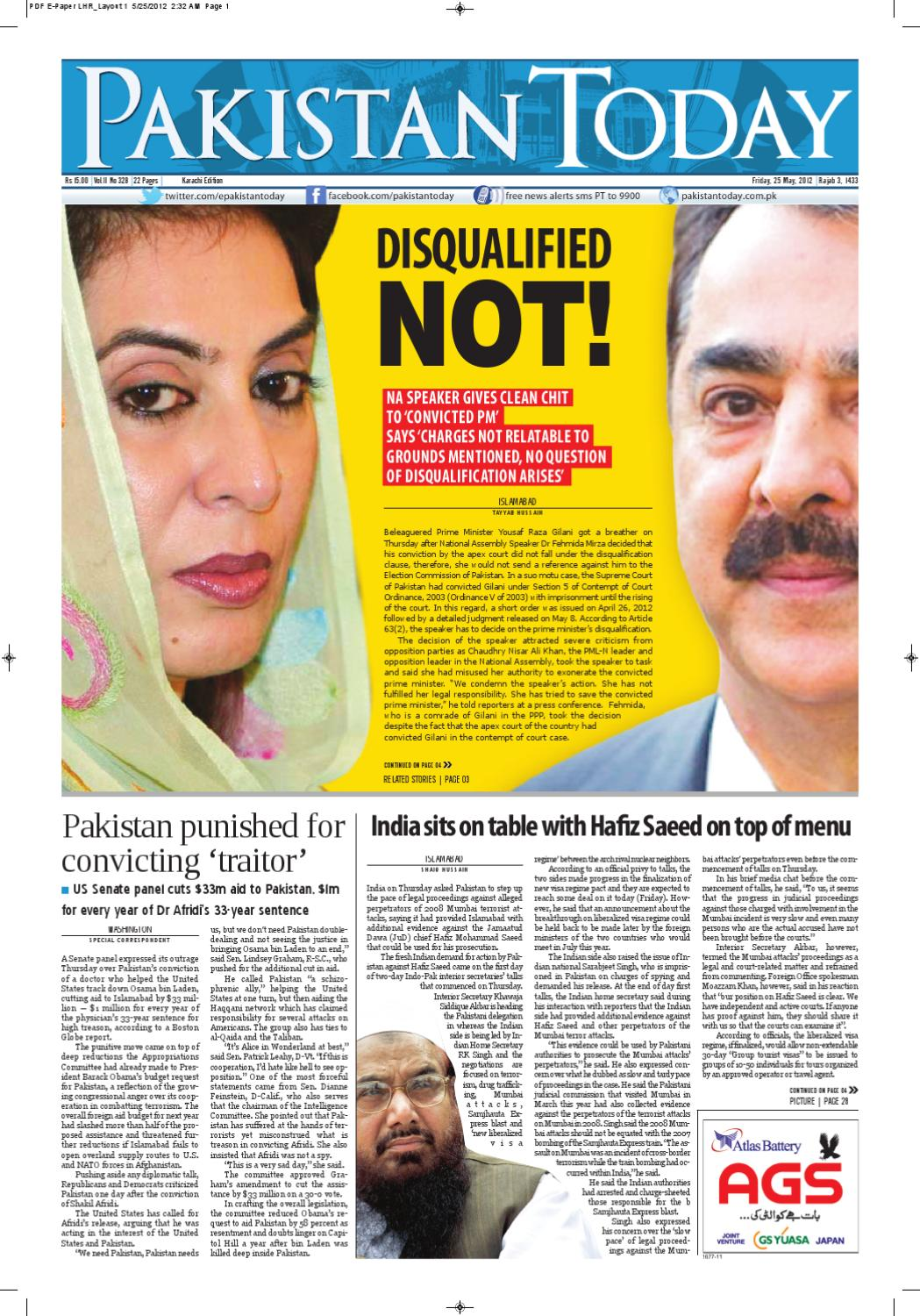 E-paper PakistanToday 25th May, 2012 by Pakistan Today - issuu