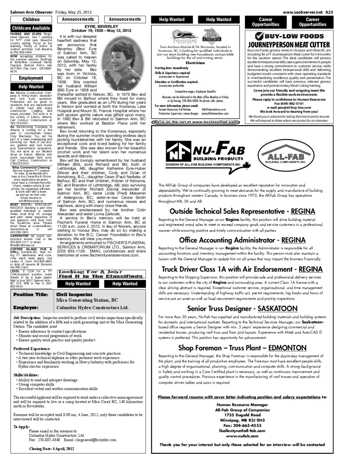 Salmon Arm Observer, May 25, 2012 by Black Press Media Group