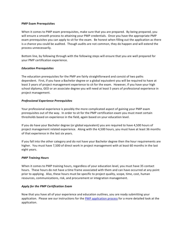 Pmp exam prerequisites by jon blanchard issuu xflitez Image collections