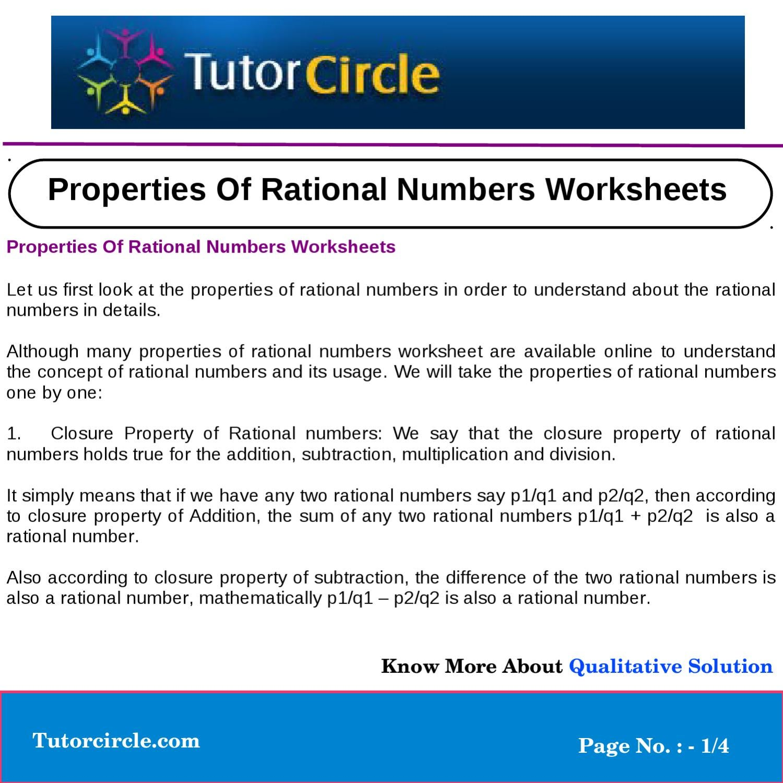 worksheet Properties Of Numbers Worksheet properties of rational numbers worksheets by yatendra parashar issuu