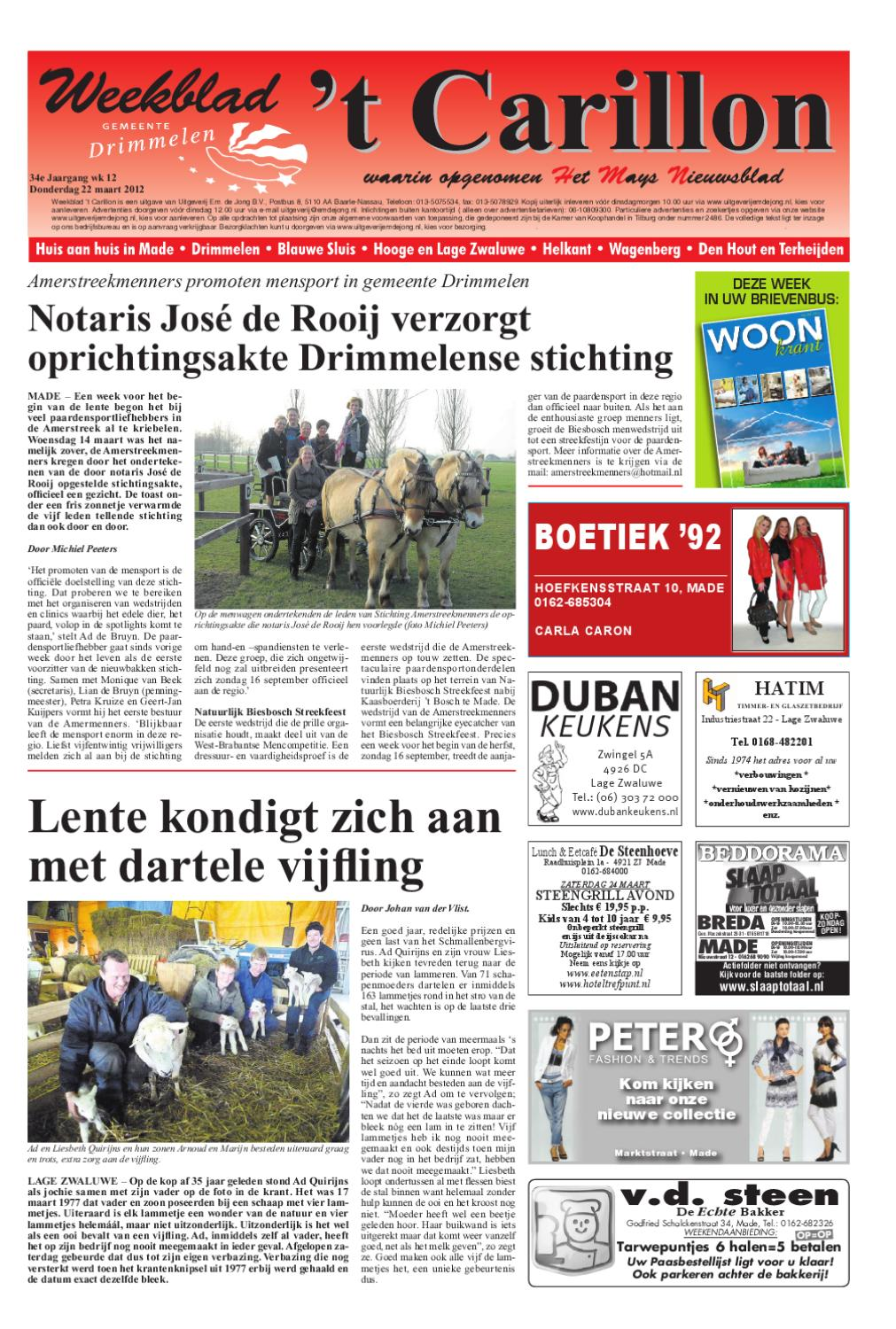 d85d37f9fac Weekblad t Carillon 22-03-2012 by Uitgeverij Em de Jong - issuu