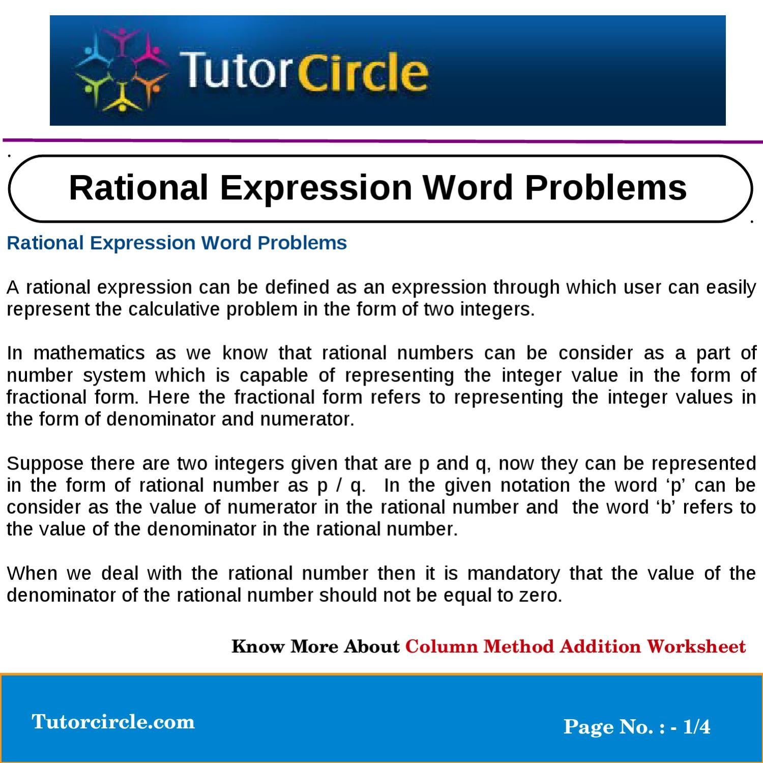 Expression Of Words Written In Ink: Rational Expression Word Problems By Tutorcircle Team