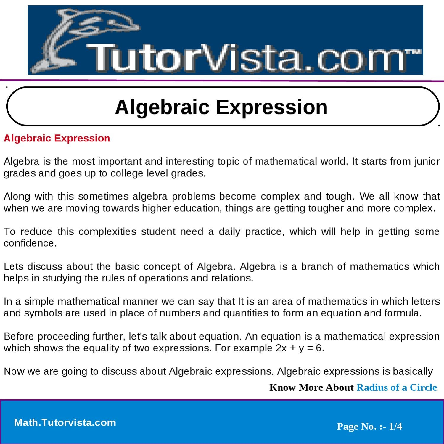 Algebraic expression by tutorvista team issuu biocorpaavc Choice Image