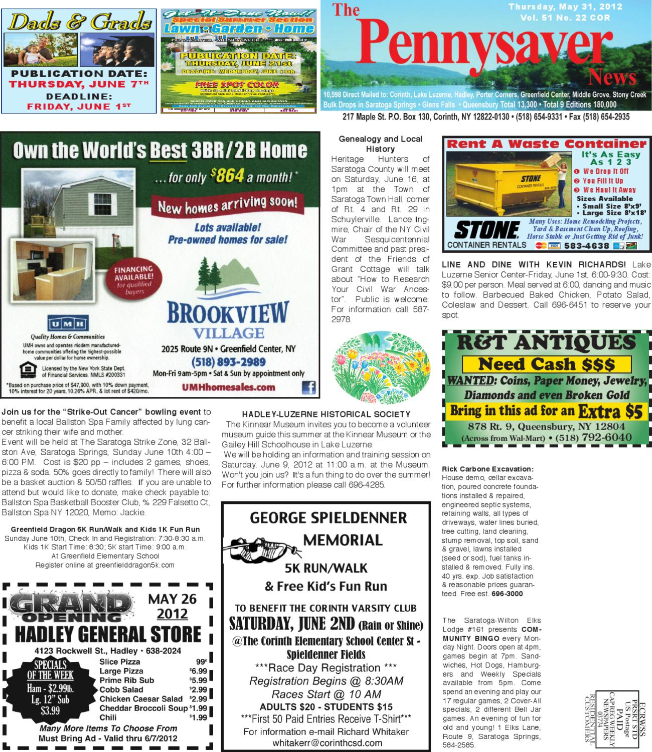 fcd174c7146 Corinth Pennysaver 053112 by Capital Region Weekly Newspapers - issuu