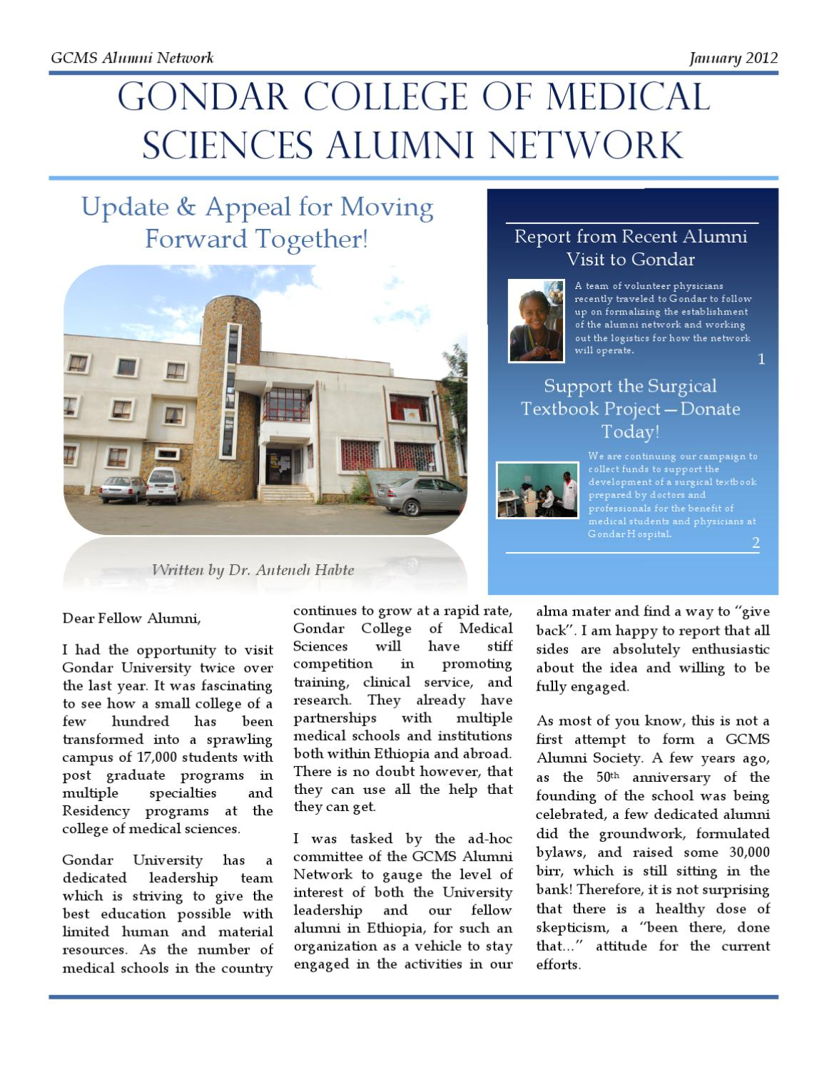 Gondar Medical College Alumni Report January 2012 by