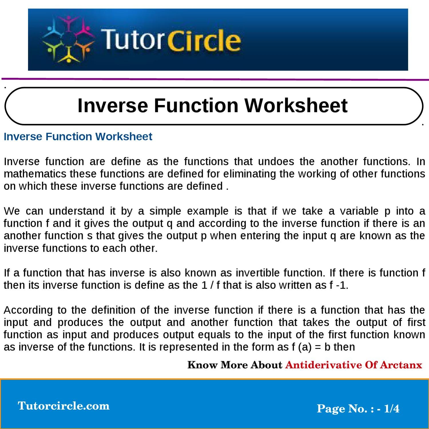 Inverse Function Worksheet By Tutorcircle Team Issuu