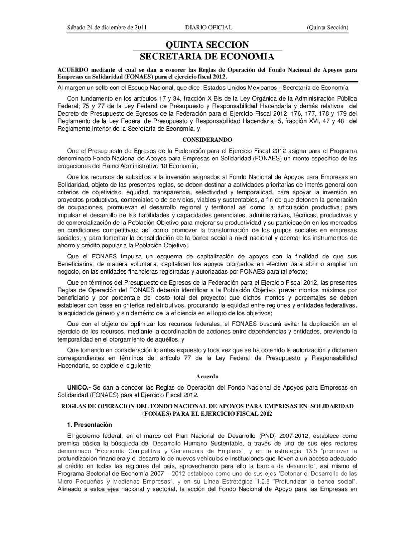 reglas de operacion fonaes 2012