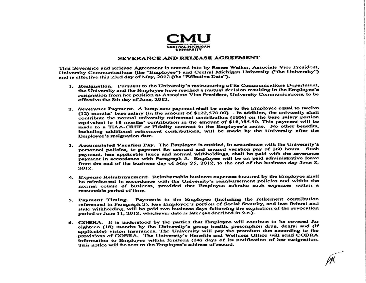 Renee Walker S Severance And Release Agreement By Cm Life Issuu