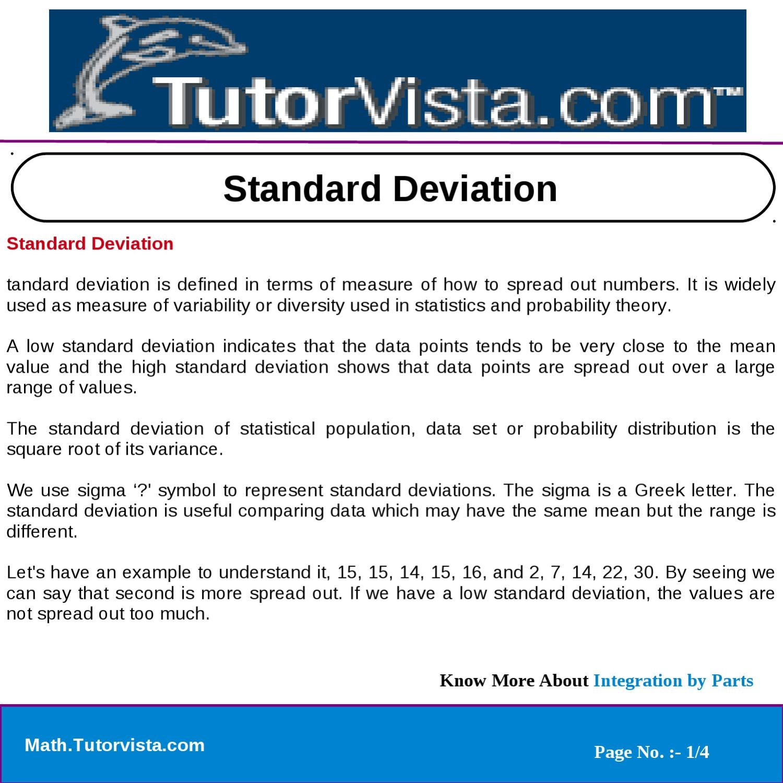 Standard Deviation By Tutorvista Team Issuu