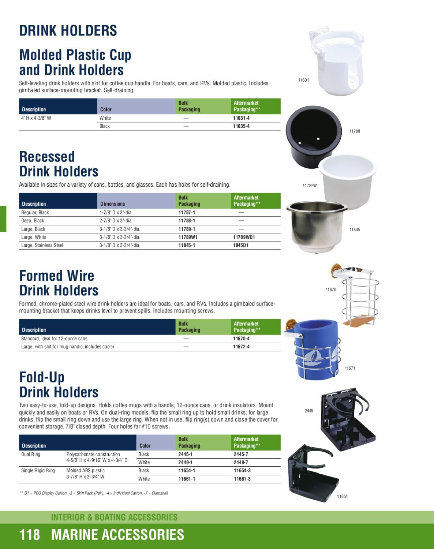 "New Gimbaled Drink Holder attwood Marine 11635-4 Black 4/"" H x 4-3//8/"" W"