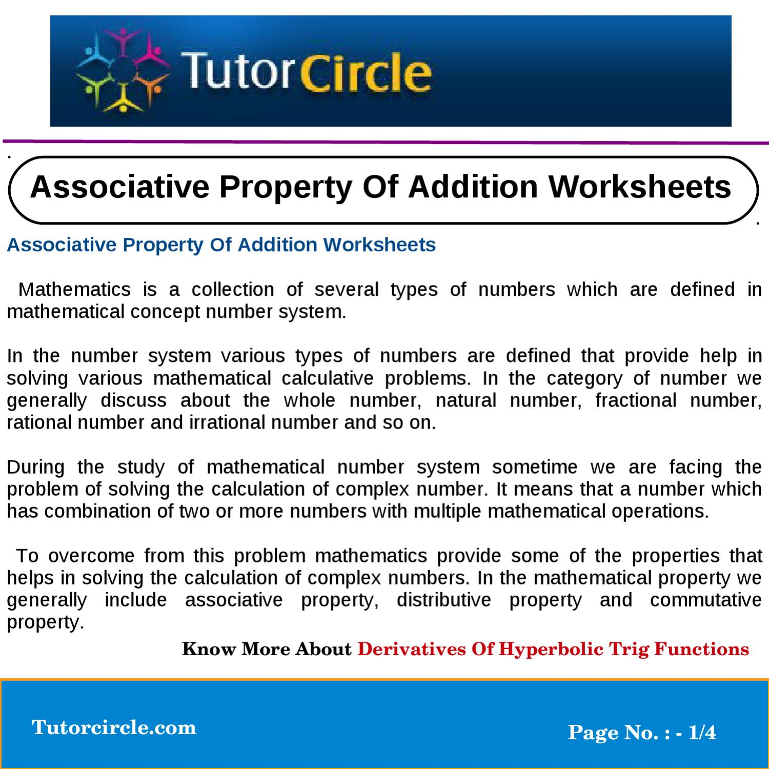 Associative Property Of Addition Worksheets By Tutorcircle Team Issuu Addition is associative means