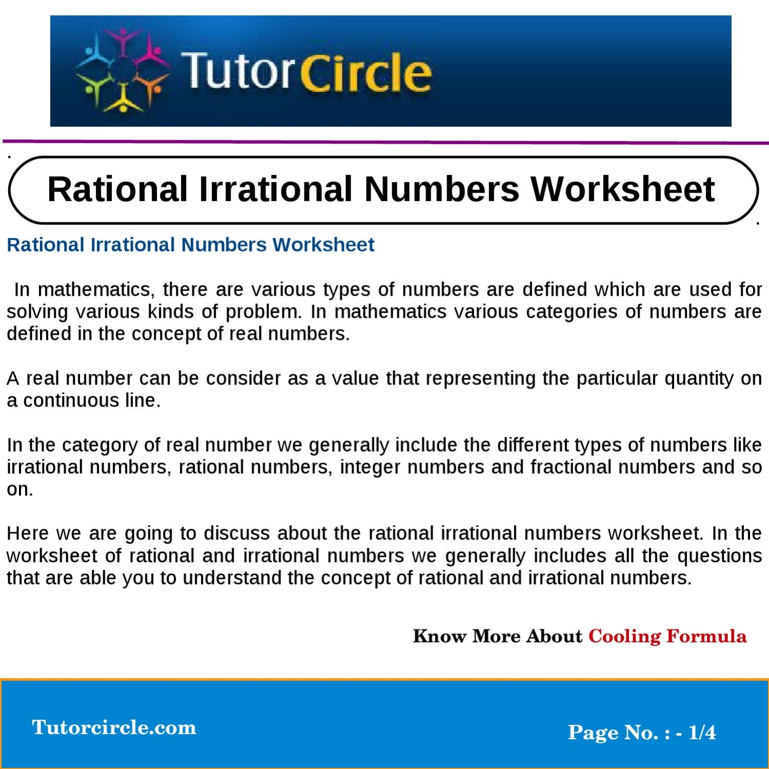 rational irrational numbers worksheet by tutorcircle team issuu - Rational And Irrational Numbers Worksheet