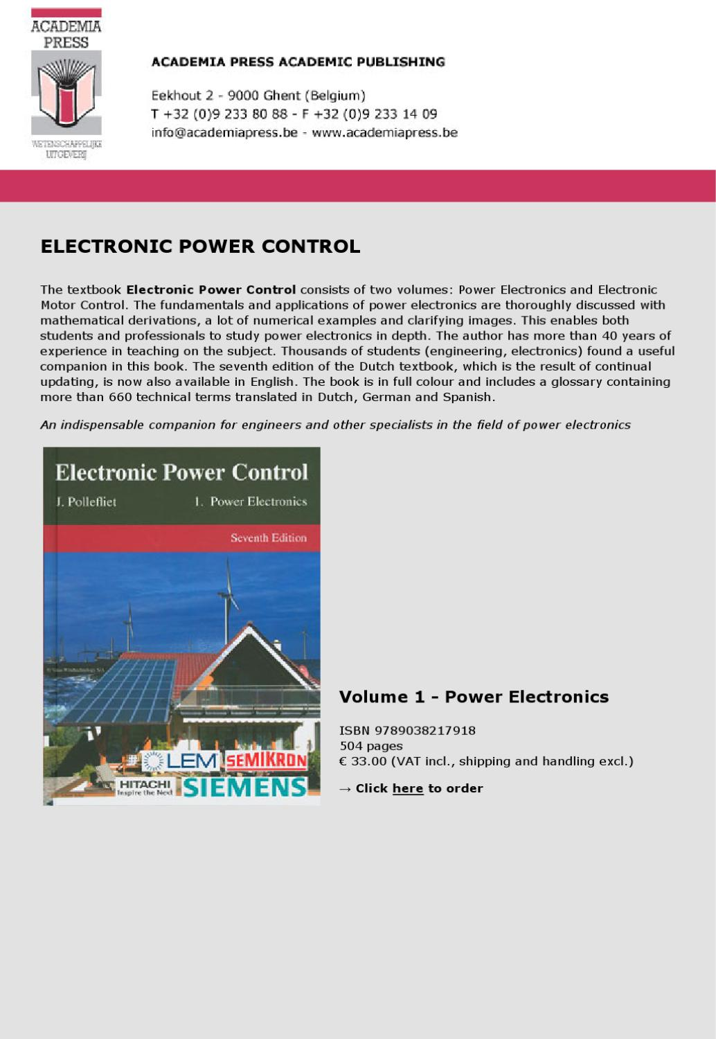 Electronic Power Control By Academia Press Issuu 24v 3a Transistor Voltage Regulator Basiccircuit Circuit Diagram